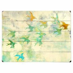 """Plank-style wood wall art with a multicolor bird motif. Ready-to-hang with included sawtooth hanger.  Product: Wall decorConstruction Material: Wood Features:  Great addition to any roomReady to hang   Dimensions:Small: 9"""" H x 12"""" WMedium: 12"""" H x 16"""" WLarge: 14"""" H x 20"""" W  Note: Hanging hardware includedCleaning and Care: Wipe with damp cloth"""