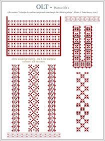 Semne Cusute: model de ie din OLTENIA, Olt - Piatra Olt Cross Stitch Borders, Cross Stitch Patterns, Embroidery Motifs, Embroidery Designs, Beading Patterns, Knitting Patterns, Palestinian Embroidery, Embroidery Techniques, Couture