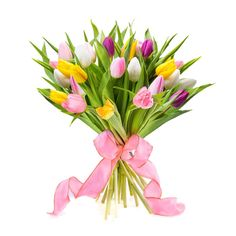 Discover this bouquet with bright colored tulips which will already bring a touch of Spring in your house.