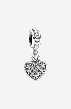 One of my starter beads. PANDORA Pavé Heart Dangle Charm | Nordstrom