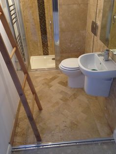 Loft conversion master en-suite! Travertine mix #sdbtilingltd