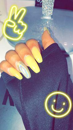 Coffin nails, yellow nails, nail designs, holographic, acrylic nails