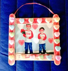 DIY Popsicle stick picture frame with conversation hearts