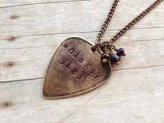 Metal Guitar Pick Whiskey Girl Necklace Hand by MallEadornments, $15.00