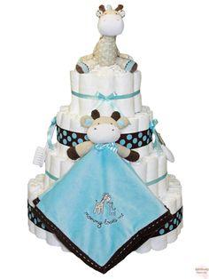 baby boy giraffe diaper cakes   ... Blue and Brown Giraffe Diaper Cake has just received a makeover