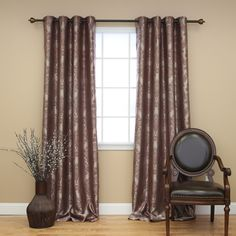Drapes & Curtains - Best Home Fashion - Traditional Damask Grommet Curtain – Oxeme Home
