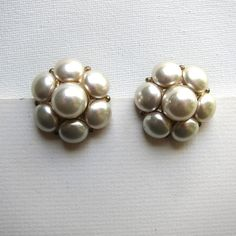 Vintage big glamorous faux glass pearl and gold tone cluster earrings