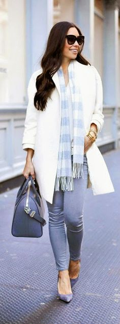 Ivory Grey in Soho - equipment sweater, alice with olivia coat, grey skinny jeans with heels
