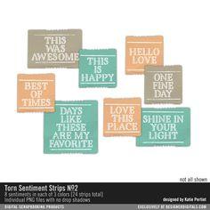 Torn Sentiment Strips No. 02 digital word stickers for instant download #designerdigitals
