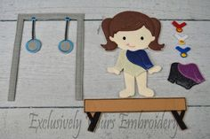 This listing is for one Shai doll with the gymnastics equipment and medal set and 2 leotards.  Do you remember playing with paper dolls when you were growing up? This treasured concept is renewed in our Line of Non Paper Dolls! Each piece is made of felt on front and back. Leotards can be made with either felt or glitter vinyl.