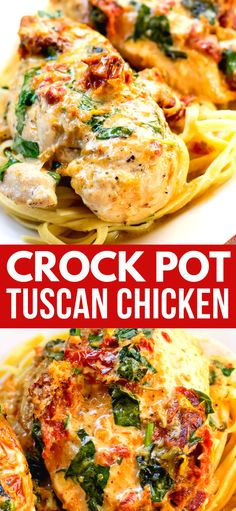 Crock Pot Tuscan Chicken is an amazing dinner that once you make it, you will want it again (and again!). #chicken #dinner #crockpot #recipeoftheday