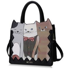 PU Cats Black Tote Bag featuring polyvore, women's fashion, bags, handbags, tote bags, tote bag purse, cat tote bag, tote hand bags, pu purse and handbags totes