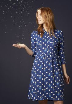 Tinker Bell Button Spot Viscose Crepe Dress from the #DisneyXCathKidston collection