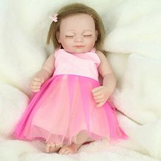 DreamRunner 10 Full Silicone Baby Doll Lifelike Mini Girl Doll Bath Toy for Kids Gifts Lovely Pink Dress -- See this great product.