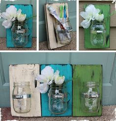 reclaimed wood, garden hose clamp, mason jar, and a sawtooth hanger on the back. by benita