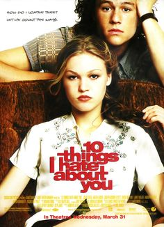 Julia Stiles & Heath Ledger, possibly one of my favorite on screen couples ever. Taming of the Shrew in high school? Even better.  That horrid ABC family show couldn't even ruin it!