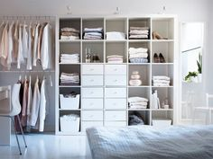 IKEA just stack book cases side by side in walkin closet