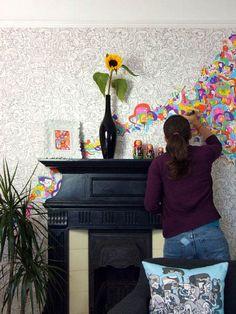 Wow!!! Jon Burgerman wallpaper. Colour in the artwork using marker pens, felt tips or paint.