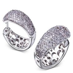Antonella - CZ Diamonds Platinum Circle Hoop Earrings