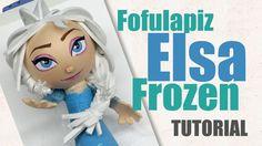 Fofucha fofulapiz Elsa Una Aventura Congelada (Moldes) - Elsa Frozen Fof...