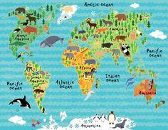 Çocuklar için hayvan karakterli dünya haritası - Duvar Kağıdı