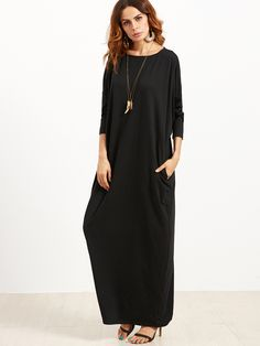 Shop Black Scoop Neck Shift Maxi Dress online. SheIn offers Black Scoop Neck Shift Maxi Dress & more to fit your fashionable needs.