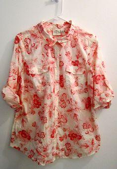 St John's Bay Womens XL Red Floral Button Down Shirt #StJohnsBay #ButtonDownShirt #Casual
