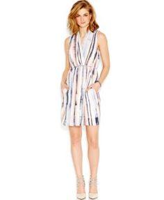 Bar III Printed Wrap Dress