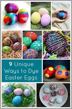 9 Unique Ways to Dye Easter Eggs- natural dyes, hot glue, silk dyed, glitter and… Easter Egg Dye, Coloring Easter Eggs, Hoppy Easter, Easter Bunny, Spring Crafts, Holiday Crafts, Holiday Fun, Holiday Ideas, Easter Activities