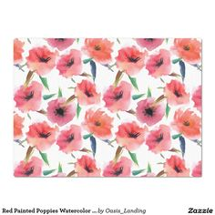 """Red Painted Poppies Watercolor Floral 10"""" X 15"""" Tissue Paper - This colorful contemporary floral tissue paper features painted poppies in shades of red, watermelon, pink and orange with scattered green leaves for a bright and beautiful combination. It makes a wonderful choice for many occasions from birthdays to weddings, anniversaries, graduations, and more. Sold at Oasis_Landing on Zazzle."""