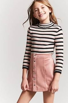 Outfits for kids Product Name:Girls Stripe Mock Neck Top (Kids), Category:girls_tops, Produktname: Girls Stripe Mock Neck Top (Kinder), Kategorie: girls_tops, Preis: Girls Fashion Clothes, Kids Outfits Girls, Cute Girl Outfits, Tween Fashion, Cute Outfits For Kids, Little Girl Fashion, Cute Summer Outfits, Cute Casual Outfits, Cute Fashion