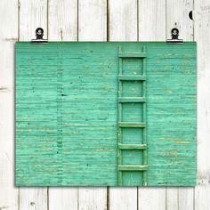 "minimalist photography, modern, turquoise, teal, wood, barn, wall art, ladder - ""The Green Ladder"" - 8x10 print. $20.00, via Etsy."