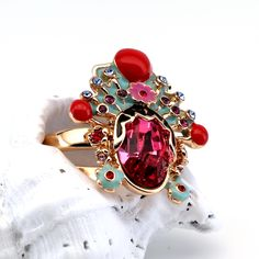 Flowers and Crystals Gold Plated 18k Ring #red #luxury #oro #gold #swarovski #rosso #flower #jewelry #style #fiore #fashion #anello #rings #ring