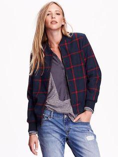 Women's Plaid Wool-Blend Bomber Jacket Product Image