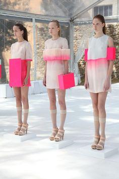 Maxime Rappaz box shaped fabric manipulation fashion bright pink shades and tints