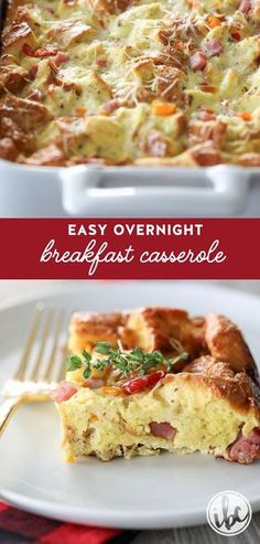 You'll love this recipe for this Easy Overnight Breakfast Casserole. So delicious! #breakfast #casserole #easy #eggs