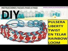 COMO HACER PULSERA DE GOMITAS MODELO LIBERTY TWIST EN TELAR RAINBOW LOOM TUTORIAL ESPAÑOL DIY - YouTube
