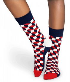 Paire de Chaussettes Homme - Rouge et Motifs Géométriques - Happy Socks 30426704431