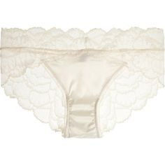 Calvin Klein Underwear Satin-paneled stretch-lace briefs ($50) ❤ liked on Polyvore featuring intimates, panties, lingerie, underwear, white, white panty, white garter belt, stretch lace lingerie, white satin panties and suspender belt