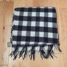 JCREW wool scarf Soft wool JCREW scarf in blue and white checkered print J. Crew Accessories Scarves & Wraps