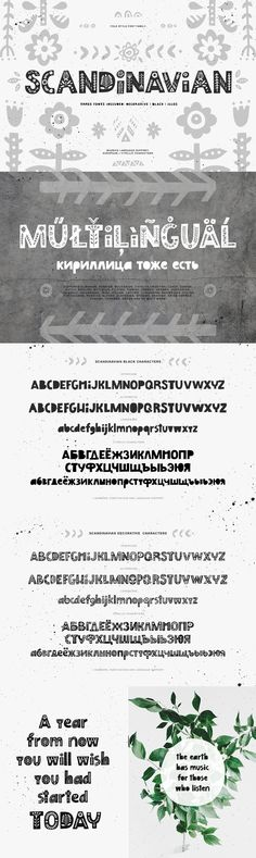 Scandinavian - Scandinavian font family include three fonts: decorative, black and symbols. You can mix & m...