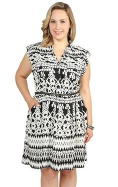 Deb Shops plus size roll tab sleeve pocket front shirt dress with braided belt and straight skirt