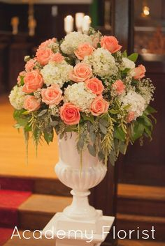 #Wedding #ceremony flowers. Garden party inspired with fresh peaches and succulents. by @Academy Sports + Outdoors Florist