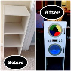 DIY play washer and dryer from a shoe rack.