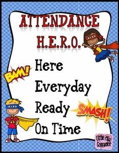 "Attendance Hero PacketBring justice to excessive absences and tardies by promoting school wide attendance improvement and timeliness. Kit includes fun and  editable posters, individual letters to spell out ""perfect attendance"", themed spirit week, attenda"