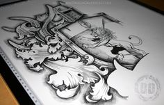 creating a custom coat of arms tattoo design on behance - coat of arms sketch Body Armor Tattoo, Arm Tattoo, Sleeve Tattoos, Tattoo Pics, Tattoo Sleeves, Tattoo Design Drawings, Tattoo Designs Men, Smash Book, Triangles