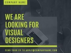 A neon green text on a dark image for a Job Vacancy template. Dark Images, We Are Hiring, Company Names, Neon Green, Banner Design, How To Apply, Positivity, Templates, Business Names