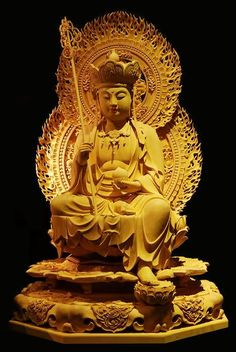 Ksitigarbha - Earth Store Bodhisattva - Hell Bodhisattva - Last Buddha. Hell Bodhisattva appears as a bodhisattva but has reached Buddha level. Gautama Buddha, Buddha Buddhism, Buddha Art, Buddha Statues, Angel Statues, Asian Sculptures, Spiritual Images, Little Buddha, China Art