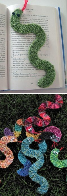 Free Knitting Pattern for Snake Bookmark - This Curvy Bookmark by the amazing Frankie Brown is knit in garter stitch using short rows to make curves.  Great use for scrap yarn, especially variegated or self-striping. Pictured projects by wbotelho and moonflower