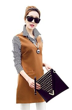 53f4e83cb6a Angcoco Womens Fashion Long Sleeve Double Layered Faux 2Piece Blouse Dress     You can find out more details at the link of the image. (Note Amazon  affiliate ...